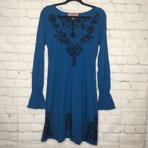 Johnny Was Blue Embroidered Bell Sleeve Dress